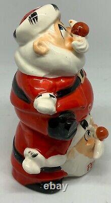 Vintage Ceramic Kreiss Salt & Pepper Stackable Santa