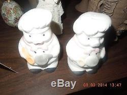 Vintage Ceramic Pig Chef Salt / Pepper Shakers (2) VERY Pristine