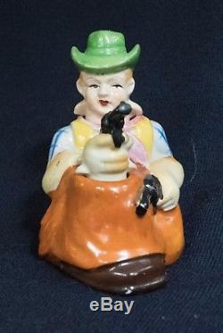 Vintage Cowboy and Gun Nodder Salt and Pepper Shaker Made in Japan Patent T. T