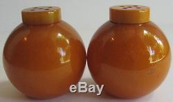 Vintage Creamy Marbled Butterscotch Bakelite Round Salt & Pepper Shakers
