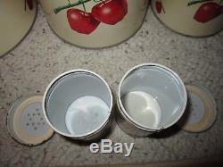 Vintage Decoware Metal Canister Set & Salt/Pepper Shakers Apple Design