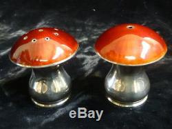 Vintage ELa Norwegian Sterling Enameled Mushroom Salt & pepper shakers /Pot's