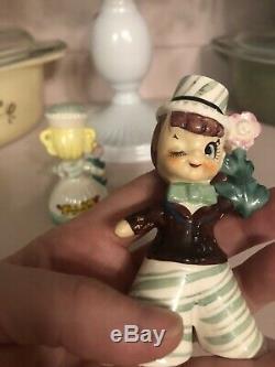 Vintage Enesco Sweet Shoppe Winking Boy & Girl Salt & Pepper Shakers 3 High