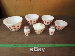 Vintage FIRE KING Red Dot 4-Piece Mixing Bowl Set salt pepper grease jar polka