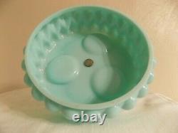 Vintage Fenton turquoise blue teardrop glass condiment set salt pepper mustard