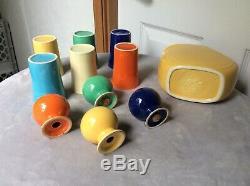 Vintage Fiesta Ware Lot 1 Disc Juice Pitcher 6 Tumblers 4 Salt & Pepper Shakers