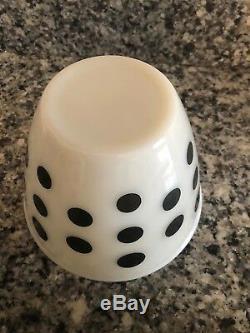 Vintage Fire King Black Polka Dot Range Set Salt & Pepper & Covered Grease Jar