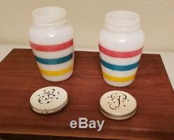 Vintage Fire King Colonial Stripe Grease Jar, Salt and Pepper Shakers. Excellent