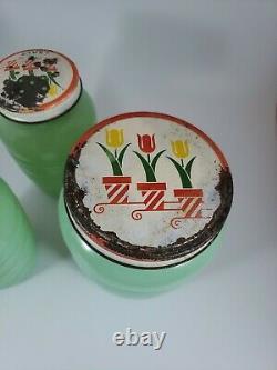 Vintage Fire King Jadeite Grease Jar & Salt Pepper Set With Tulip Lids