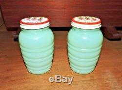Vintage Fire King Jadeite Jadite Ribbed Salt & Pepper Shakers Tulip LID