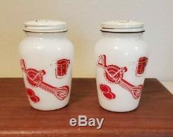 Vintage Fire King Kitchen Aids Salt & Pepper Shakers with original Lids. EUC