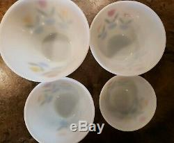 Vintage Fire King Tulip Nesting Bowls Set WithSalt & Pepper Shakers Made in USA