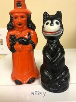 Vintage Halloween Rosbro Witch And Cat Salt Pepper Halloween One Day Sale