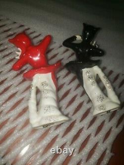 Vintage Halloween She Devil Ballerina's with Pitchforks Salt Pepper Shakers JAPAN