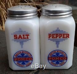 Vintage Hazel Atlas Mckee Tipp Art Deco Milk Glass Pomco Salt Pepper Shakers