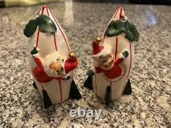 Vintage Holt Howard Ceramic Santa & Mrs Claus Rocket Ships Salt Pepper Shakers