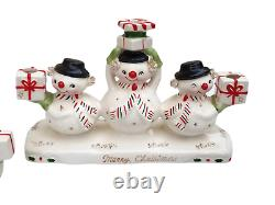 Vintage Holt Howard Christmas Snowman Candle Holder Salt & Pepper Shakers
