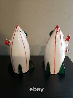 Vintage Holt Howard Santa & Mrs. Claus on Rockets Salt & Pepper Shakers