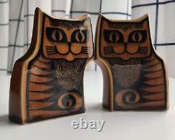 Vintage Hornsea Pottery Cats Salt & Pepper Brown Cruet Set John Cappison Design