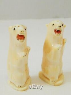 Vintage Inuit Eskimo Carved Polar Bear Salt & Pepper Shakers Bovine Bone