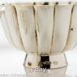 Vintage Italy Silver Salt/Sugar/Pepper Cellars/Bowl with Mother of Pearl Spoon