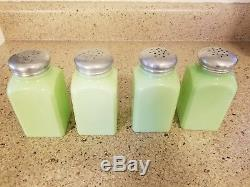 Vintage Jadeite Jadite Square Shaker Set Salt Pepper Sugar Flour
