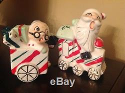 Vintage Japan Christmas Train Santa Mrs Claus Salt Pepper