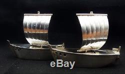 Vintage Japanese 950 Sterling Silver SAILBOAT Salt & Pepper Shakers Great Cond