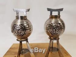 Vintage Japanese Sterling Silver. 950 Lantern Shape Salt & Pepper Shakers Suzuki