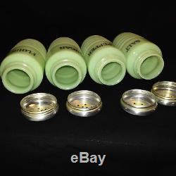 Vintage. Jeannette Jadeite Ribbed 4pc Range Setsaltpepperfloursugar Shakers