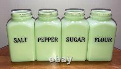 Vintage Jeannette Light Jadite Square Range Salt Pepper Flour Sugar Shakers Set