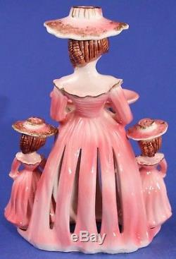Vintage KREISS Jennifer PINK Napkin Doll Center Piece & her Salt Pepper Shakers
