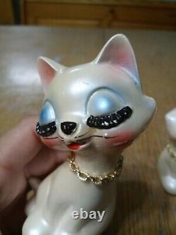 Vintage Kitsch Cat Kitty Kitten Salt Pepper Eyelash Anthropomorphic Japan