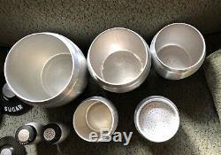 Vintage Kromex Canister Set Aluminum Flour Sugar Coffee Tea Grease Salt & Pepper