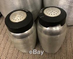 Vintage Kromex Spun Aluminum 6 Canister Set Bonus Salt Pepper Shakers Black Lids