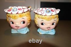Vintage Lefton Miss Dainty Cookie Jar & Salt & Pepper Shaker Set Sugar ESD Japan
