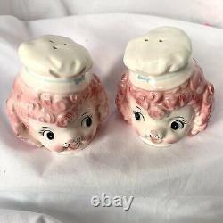 Vintage Lefton Pink Poodle Salt & Pepper Shakers Japan