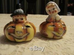 Vintage Lefton Salt & Pepper Shakers Halloween Thanksgiving Pilgrims in Pumpkins