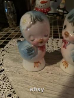 Vintage Lefton Topline Anthropomorphic Blue Birds Salt Pepper