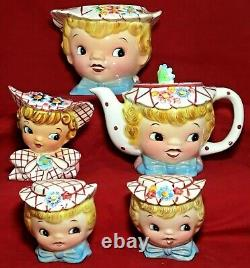 Vintage Lot Miss Dainty Lefton Cookie Jar Teapot Salt Pepper Shakers Sugar Bowl