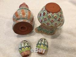 Vintage MACKENZIE CHILDS Cream Pitcher, Sugar shaker, Salt Pepper mint condition
