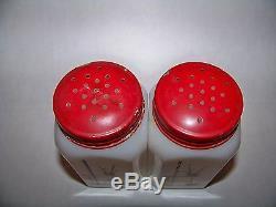 Vintage MCKEE Stick Pots Salt & Pepper Large Milk Glass Shakers RARE 4 1/2 Tall