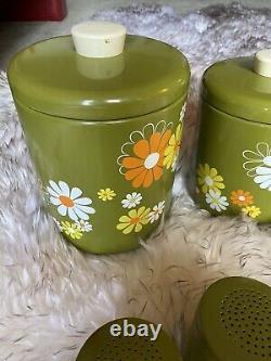 Vintage MCM Ransburg Canister Salt Pepper Avocado Green Hippie Daisy Retro Set