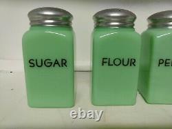 Vintage McKee Block Letter Jadeite Salt Pepper Flour Sugar Range Shakers