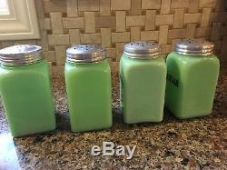 Vintage McKee Jadeite Jadite Square Shaker Set Salt Pepper Sugar Flour HTF