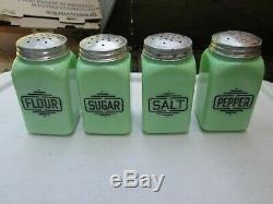 Vintage McKee Jadeite Square Canister Set 4-Pc Sugar Flour Salt Pepper