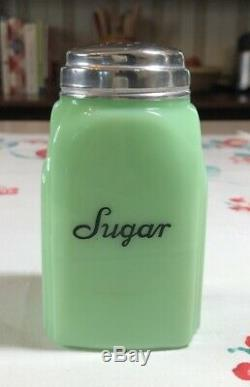 Vintage McKee Jadite Roman Arch Shaker Set Salt Pepper Sugar Flour Art Deco