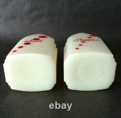 Vintage McKee MCK Glass RED DOT Salt & Pepper Roman ARCH Shakers Aluminum Lids