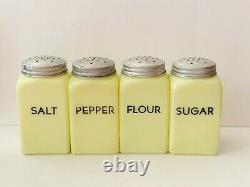 Vintage McKee Seville Range Set Salt Pepper Flour Sugar Shakers Black Block Ltrs