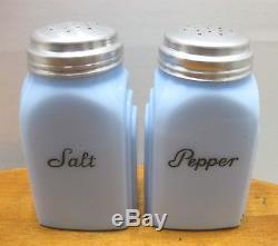 Vintage Mckee Delphite Roman Arch Salt & Pepper Shakers Screw On Aluminum LID